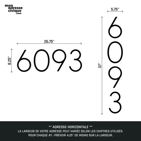 Mon adresse civique La Prestige mesures 4 chiffres design exterieur
