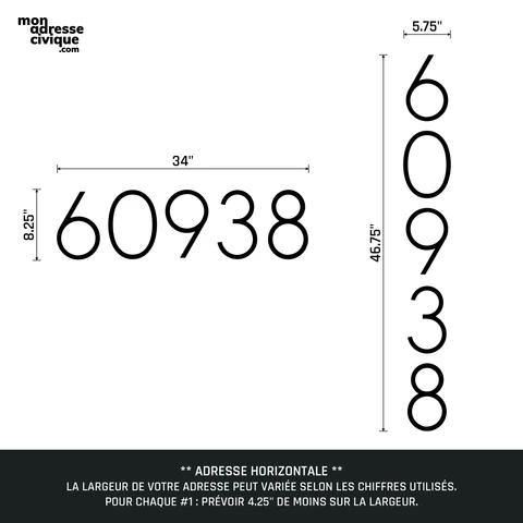 Mon adresse civique La Prestige mesures 5 chiffres design exterieur