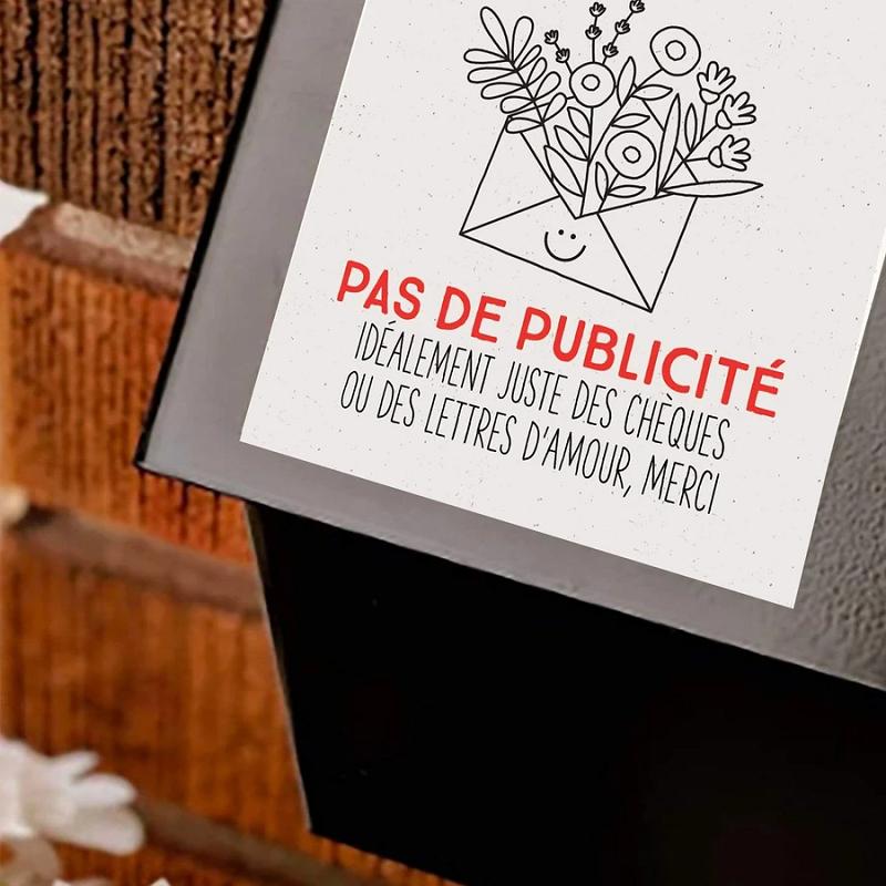 Autocollant Pas de Publicite Boite a lettre Design exterieur