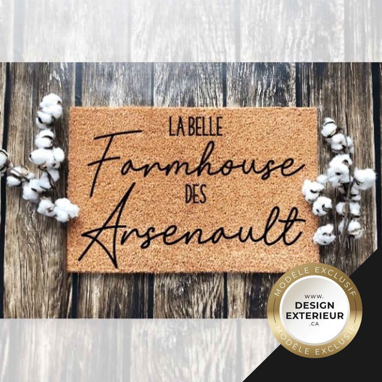 Paillasson Farmhouse personnalise Arsenault Design exterieur badge Exclusif