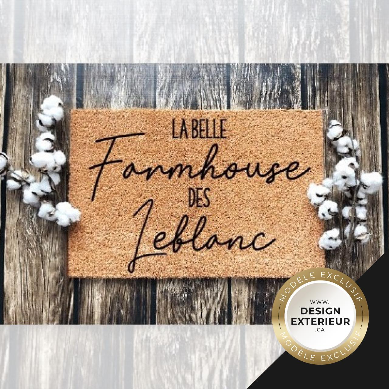Paillasson Farmhouse personnalise Leblanc Design exterieur badge Exclusif