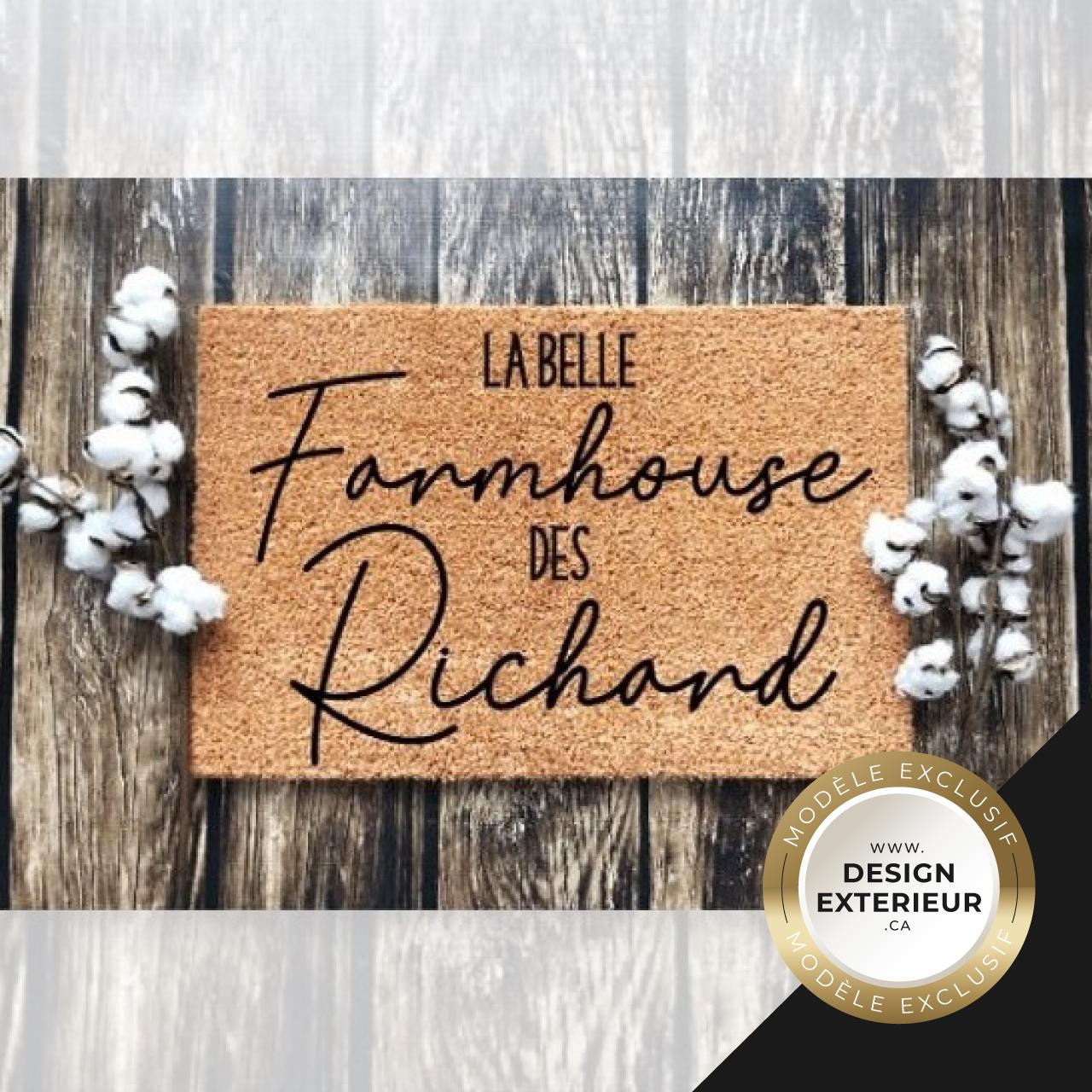 Paillasson Farmhouse personnalise Richard Design exterieur badge Exclusif