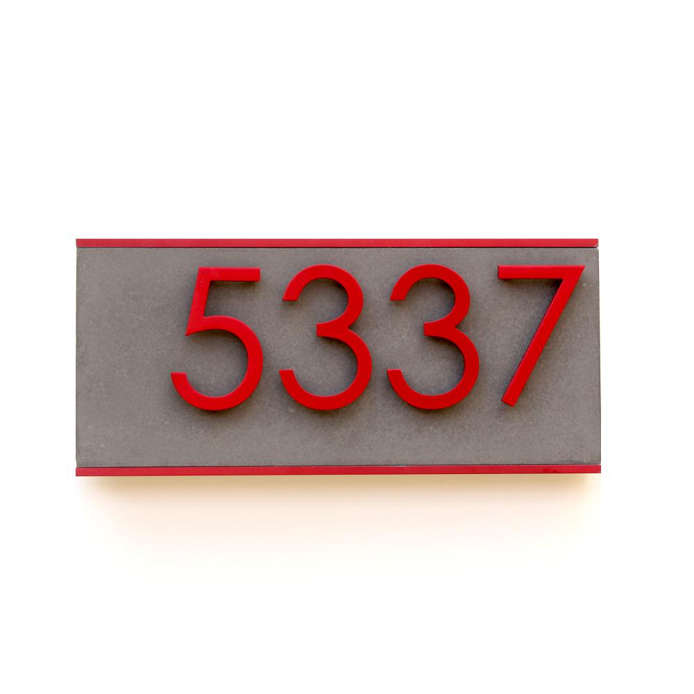 Jusho Design Plaque Adresse Civique Promenade Alice rouge fonce Design Exterieur