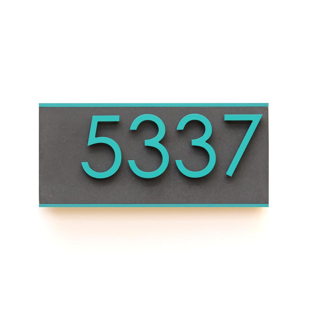 Jusho Design Plaque Adresse Civique Promenade Alice turquoise fonce Design Exterieur
